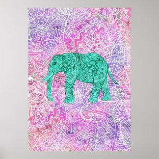 Modelo púrpura de la alheña del elefante tribal de póster