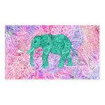 Modelo púrpura de la alheña del elefante tribal de plantillas de tarjeta de negocio