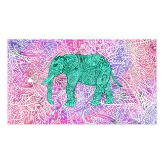 Modelo púrpura de la alheña del elefante tribal de tarjetas de visita