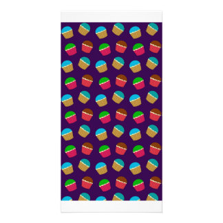 Modelo púrpura de la magdalena tarjetas fotográficas personalizadas