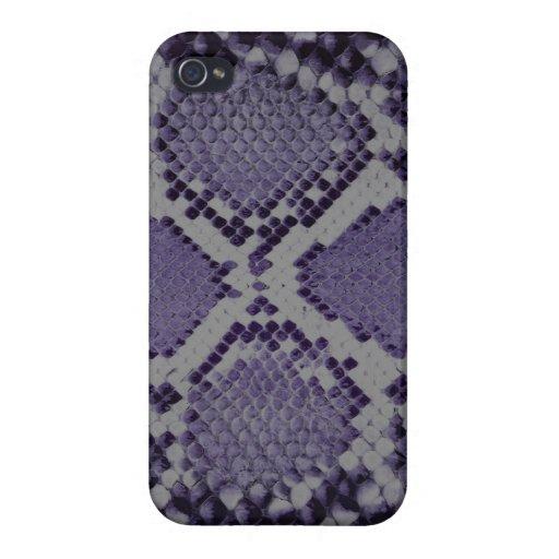 Modelo púrpura de la piel de serpiente iPhone 4 fundas