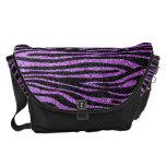 Modelo púrpura de la raya de la cebra (falso brill bolsas de mensajeria
