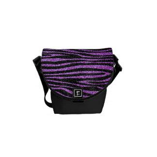 Modelo púrpura de la raya de la cebra (falso brill bolsa de mensajeria