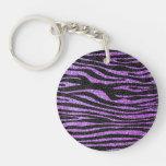 Modelo púrpura de la raya de la cebra (falso brill llaveros