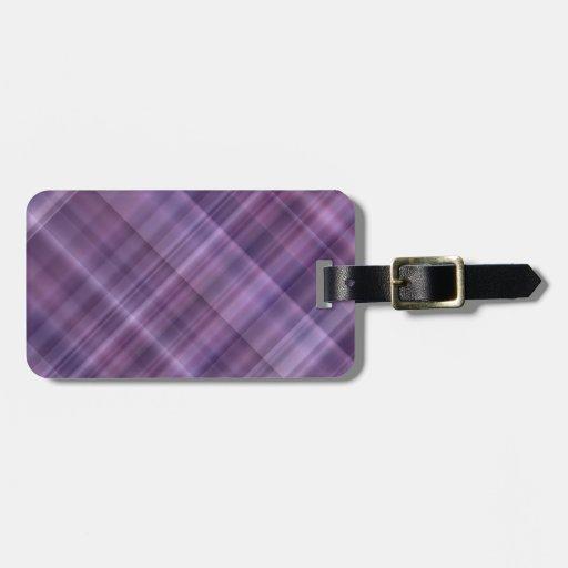 Modelo púrpura de la tela escocesa etiquetas bolsa