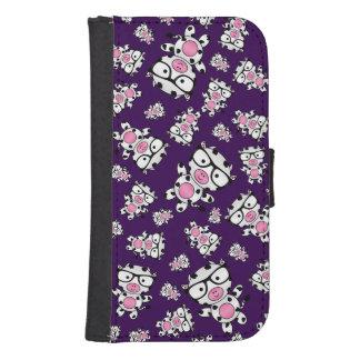 Modelo púrpura de la vaca del empollón billeteras para teléfono