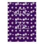 Modelo púrpura de los copos de nieve del navidad invitación 12,7 x 17,8 cm