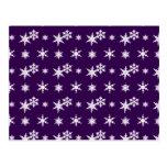 Modelo púrpura de los copos de nieve del navidad postal