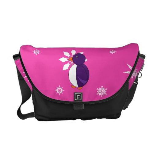 Modelo púrpura de los copos de nieve del rosa del  bolsa messenger