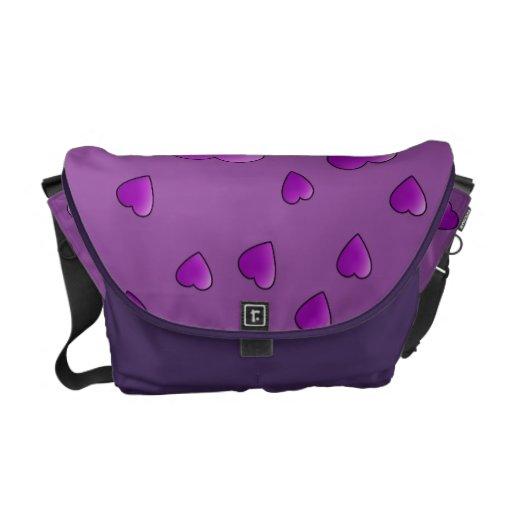 Modelo púrpura de los corazones del amor bolsas de mensajería