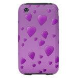 Modelo púrpura de los corazones del amor tough iPhone 3 cárcasas