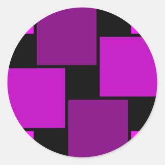 Modelo púrpura de los cuadrados pegatina redonda