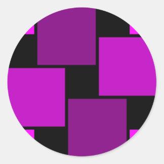 Modelo púrpura de los cuadrados etiqueta redonda