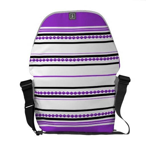 "Modelo púrpura de moda la ""que compite con raya "" bolsa messenger"