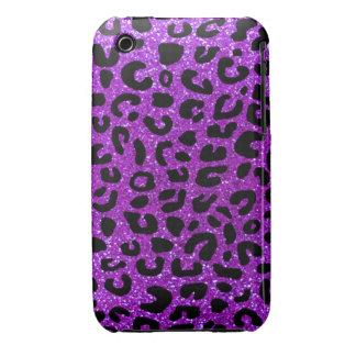 Modelo púrpura de neón de la impresión del guepard iPhone 3 Case-Mate cobertura