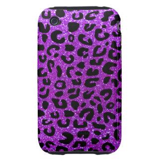 Modelo púrpura de neón de la impresión del guepard tough iPhone 3 protectores