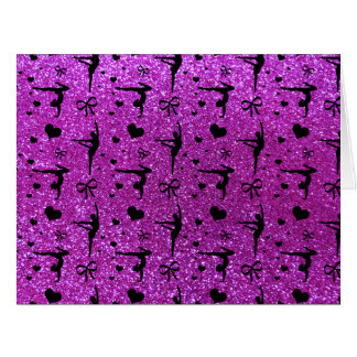 Modelo púrpura de neón del brillo de la gimnasia tarjeta de felicitación grande