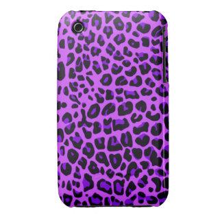Modelo púrpura de neón del estampado leopardo iPhone 3 fundas