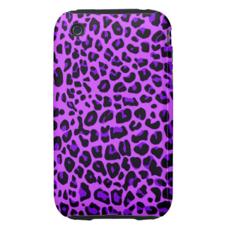 Modelo púrpura de neón del estampado leopardo tough iPhone 3 protectores