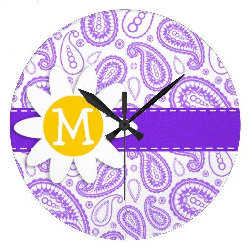 Modelo púrpura de Paisley; Margarita de la primave Reloj Redondo Grande