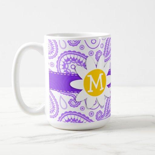 Modelo púrpura de Paisley; Margarita de la primave Taza Básica Blanca
