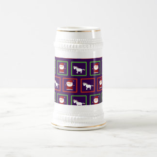 Modelo púrpura de Papá Noel de los unicornios Jarra De Cerveza