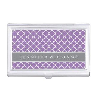 Modelo púrpura de Quatrefoil personalizado Cajas De Tarjetas De Negocios