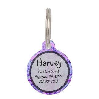 Modelo púrpura del ángel con las flores placas de mascota
