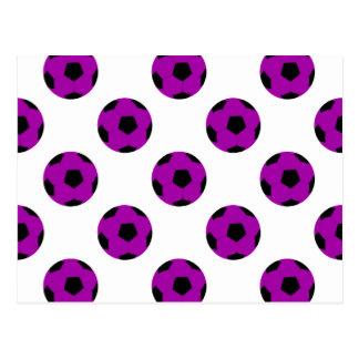Modelo púrpura del balón de fútbol postales