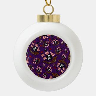 Modelo púrpura del barco pirata adorno de cerámica en forma de bola