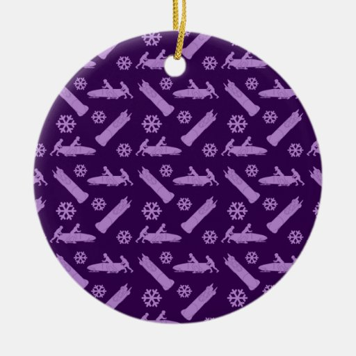 modelo púrpura del bobsled adorno redondo de cerámica