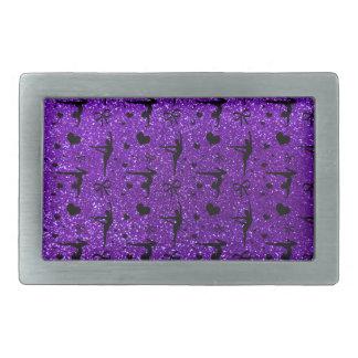 Modelo púrpura del brillo de la gimnasia del añil hebilla cinturón rectangular