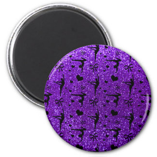 Modelo púrpura del brillo de la gimnasia del añil imán redondo 5 cm