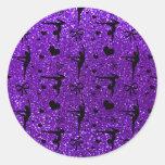 Modelo púrpura del brillo de la gimnasia del añil etiquetas redondas
