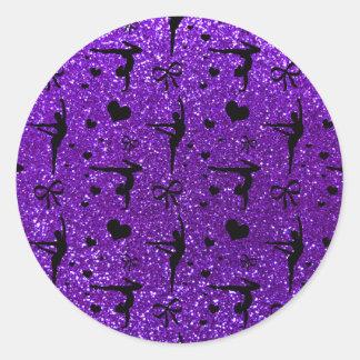 Modelo púrpura del brillo de la gimnasia del añil pegatina redonda