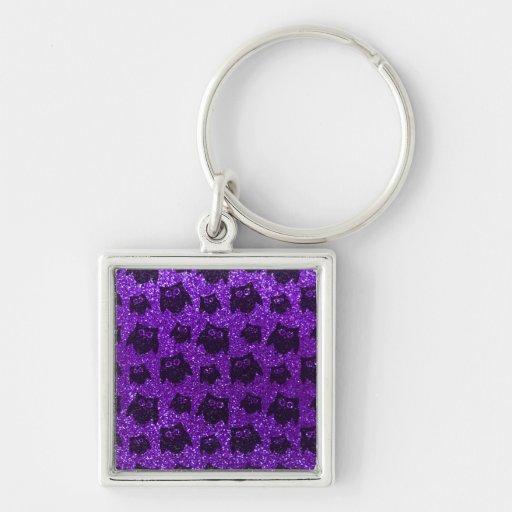 Modelo púrpura del brillo del búho del añil llavero cuadrado plateado