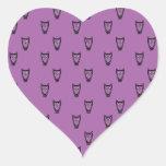 Modelo púrpura del búho pegatinas de corazon personalizadas
