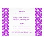 Modelo púrpura del damasco con blanco comunicados personales