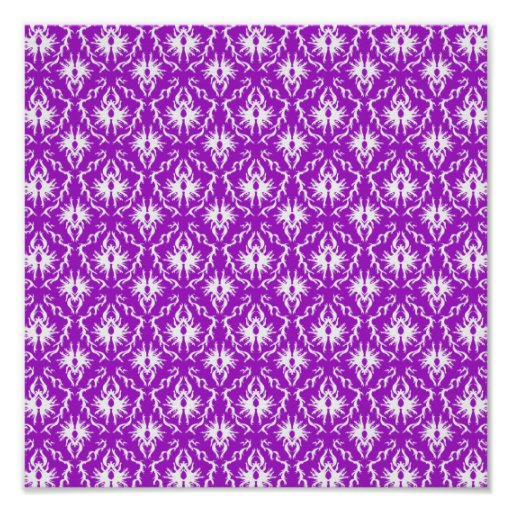 Modelo púrpura del damasco con blanco poster