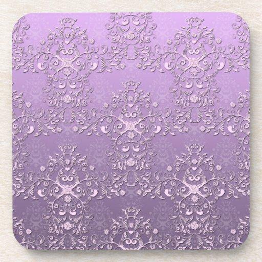 Modelo púrpura del damasco de la lavanda floral de posavasos de bebida