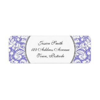 Modelo púrpura del damasco de la lila etiquetas de remite