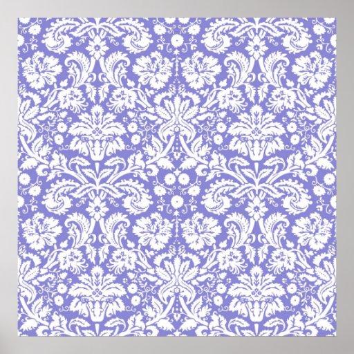 Modelo púrpura del damasco de la lila póster
