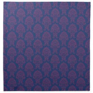 Modelo púrpura del damasco servilletas imprimidas