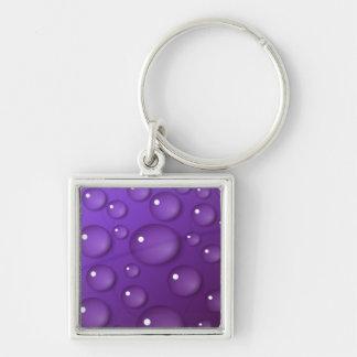 Modelo púrpura del descenso del agua llavero cuadrado plateado