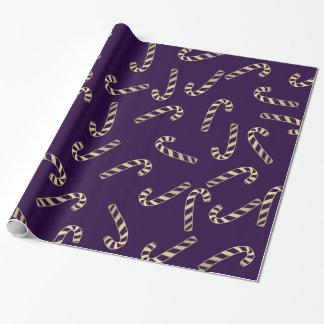 Modelo púrpura del día de fiesta de los bastones papel de regalo
