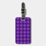 Modelo púrpura del diamante etiquetas de maletas