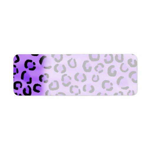 Modelo púrpura del estampado leopardo etiquetas de remite