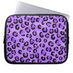 Modelo púrpura del estampado leopardo mangas portátiles