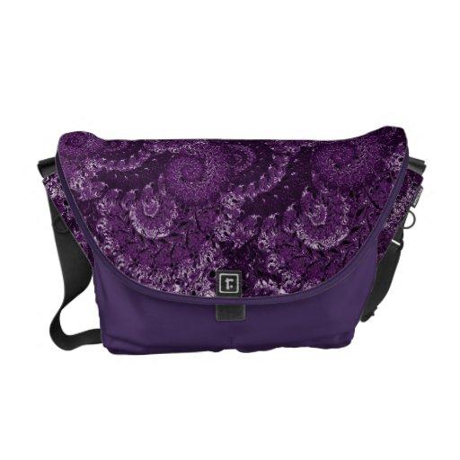 Modelo púrpura del fractal del remolino bolsas messenger
