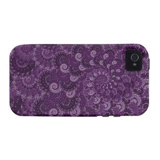 Modelo púrpura del fractal del remolino vibe iPhone 4 funda